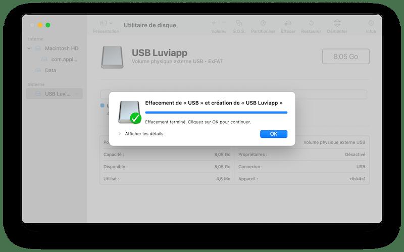 Effacement validé macOS Utilitaire de disque