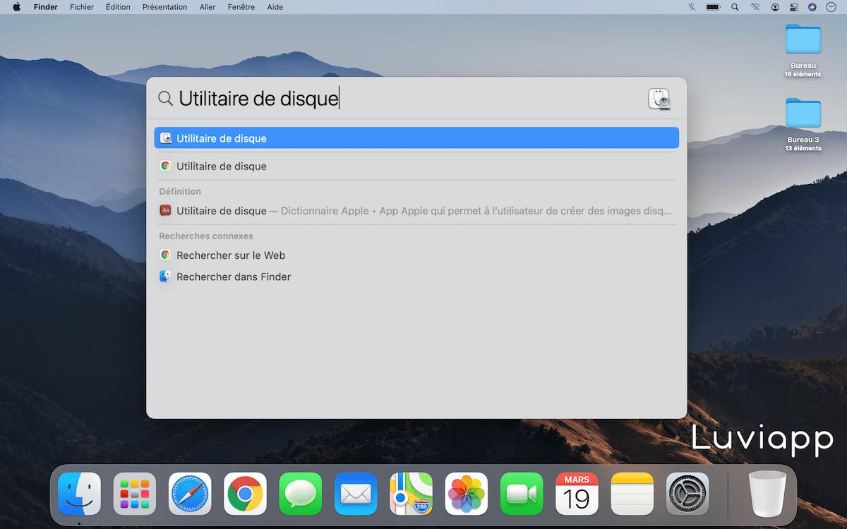Recherche Spotlight Utilitaire de disque macOS